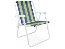 Cadeira de Praia e Sacada Alta Mor Listrado Azul e Verde 53x54,5x72,5cm