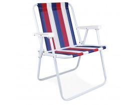 Cadeira de Praia e Sacada Alta Mor Listrado Azul, Branco e Vermelho 53x54,5x72,5cm