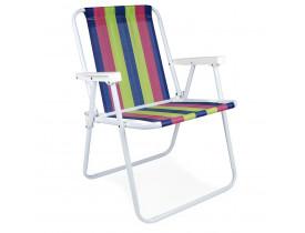 Cadeira de Praia e Sacada Alta Mor Listrado Azul, Pink e Verde 53x54,5x72,5cm
