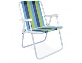 Cadeira de Praia e Sacada Alta Mor Listrado Azul, Marinho e Verde 53x54,5x72,5cm