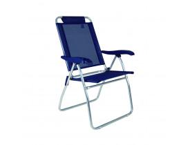 Cadeira Reclinável Boreal Alumínio 4 posições Azul Marinho Mor
