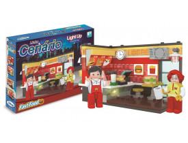 Blocos de Montar Cenário Light Up Fast Food 213 Peças Xalingo