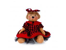 Ursa Filhote com Vestido de Pelúcia Santa Klaus 30cm