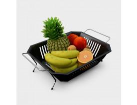 Fruteira de Mesa com Cesto Plástico Preto Stolf