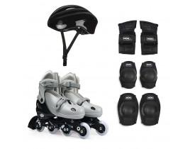 Kit Roller Infantil Tamanho 34-37 Cinza Mor
