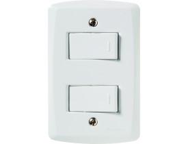 Conjunto 4x2 com 2 Interruptores Simples Branco Lux² Tramontina