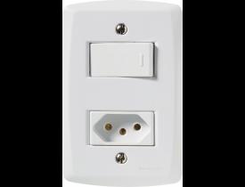 Conjunto 4x2 com 1 Interruptor Simples e 1 Tomada 2P+T Branco Lux² Tramontina