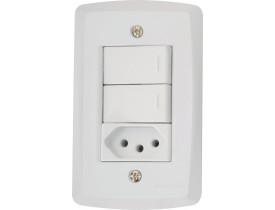 Conjunto 4x2 com 2 Interruptores Simples e 1 Tomada 2P+T Branco Lux² Tramontina
