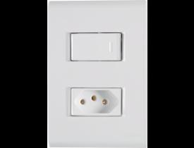 Conjunto 4x2 com 1 Interruptor Simples e 1 Tomada 2P+T Branco Liz Tramontina