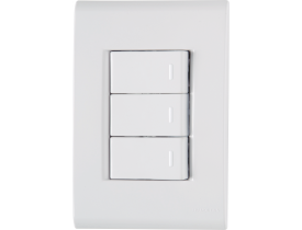 Conjunto 4x2 com 3 Interruptores Simples Branco Liz Tramontina