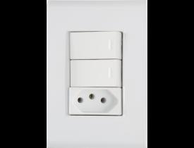 Conjunto 4x2 com 2 Interruptores Simples e 1 Tomada 2P+T Branco Liz Tramontina