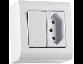 Caixa de Sobrepor com 1 Interruptor Simples 10A e 1 Tomada 2P+T 20A LizFlex Branca Tramontina