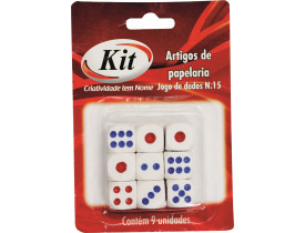 Jogo de Dados N.15 Branco com 9 unidades Kit