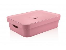 Caixa Organizadora Cube com Tampa Ou Martiplast GD 45x35,5x13cm Rosa Quartzo