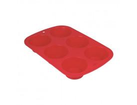 Assadeira Silicone para Cupcake e Muffin Vermelha 18X28cm Mor