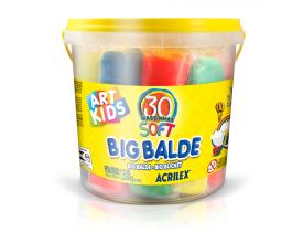 Big Balde com 30 Massinhas Soft 1,5Kg Acrilex