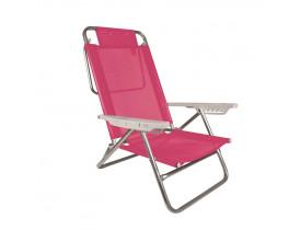 Cadeira Alumínio 6 Posições Summer Pink Mor 71x63x86,5cm 002118