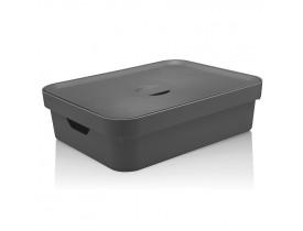 Caixa Organizadora Cube com Tampa Ou Martiplast GD 45x35,5x13cm Chumbo CC550