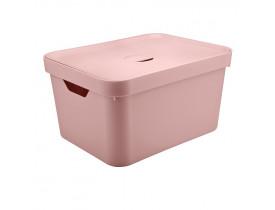 Caixa Organizadora Cube com Tampa Ou Martiplast GD 46x36x24,5cm Rosa Quartzo CC650