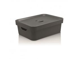 Caixa Organizadora Cube com Tampa Ou Martiplast MD 36,5x27,5x13cm Chumbo CC350