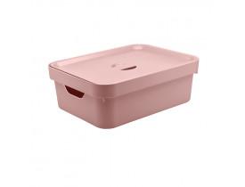 Caixa Organizadora Cube com Tampa Ou Martiplast MD 36,5x27,5x13cm Rosa Quartzo CC350