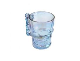 Caneca de Vidro para Chopp e Cerveja 510ml Caveira Rock Style Azul Rainbow Lyor