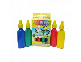 Cola Colorida Acrilex 4 Unidades 23G