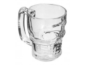Caneca de Vidro para Chopp e Cerveja 365ml Caveira Rock Style Lyor