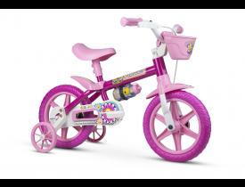 Bicicleta Infantil Flower Nathor Aro 12 Rosa