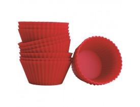 Forma de Cupcake e Muffin de Silicone com 12 Mor 7x7x3cm Vermelha 008511