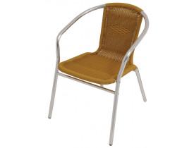 Cadeira Poltrona de Alumínio Bege Rattan 62x55x72cm Mor