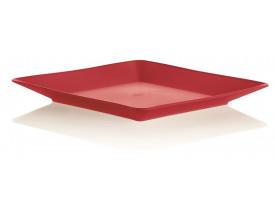 Prato Lanche Quadrado Ou Martiplast 17x17x2cm Vermelho PL3900