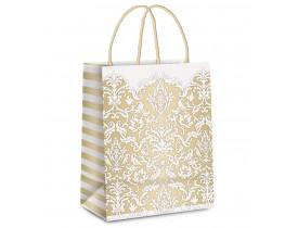 Sacola de Papel para Presente Adamascado Marfim/Ouro G 13X26X32cm Cromus Embalagens