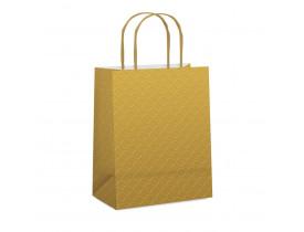 Sacola de Papel para Presente Relevo Ouro G 13X26X32cm Cromus Embalagens