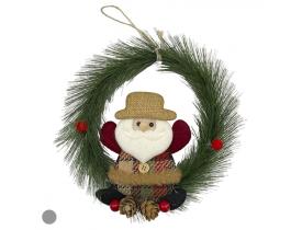 Guirlanda Papai Noel 22cm Verde D&A