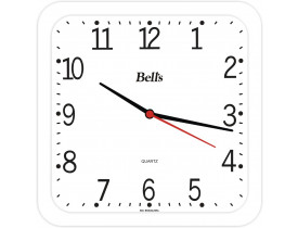 Relógio de Parede Quadrado Branco Bells